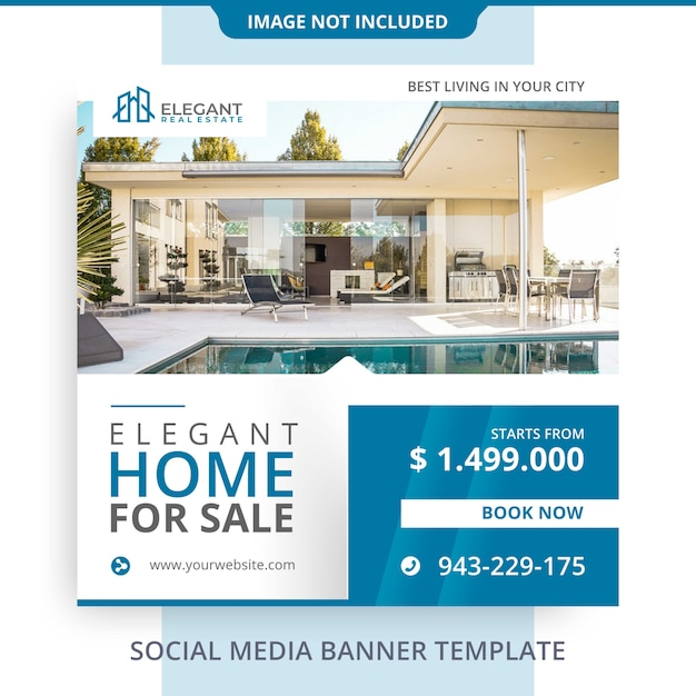 Editable elegant home for sale real estate banner promotions Premium Psd