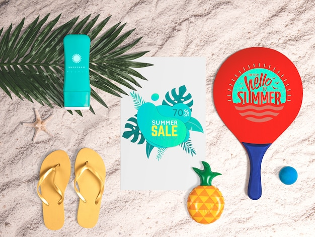 Editable flat lay paper mockup with summer elements Free Psd