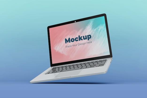 Шаблон дизайна макета редактируемого плавающего ноутбука Premium Psd