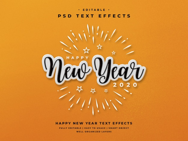 Editable happy new year 2020 text style effect PSD file ...