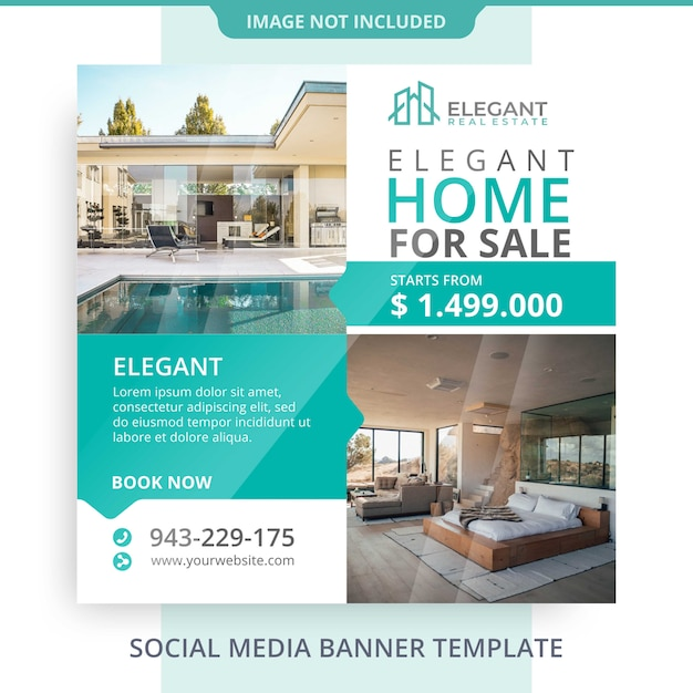 Editable home for sale real estate banner promotions Premium Psd