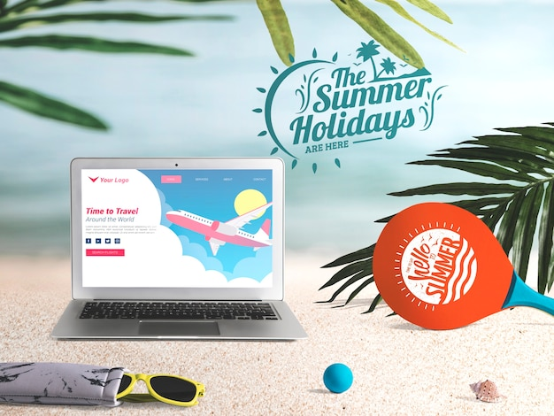 Editable laptop mockup with summer elements Free Psd