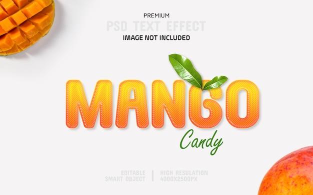 編集可能なマンゴーキャンディ3dテキスト効果テンプレート Premium Psd