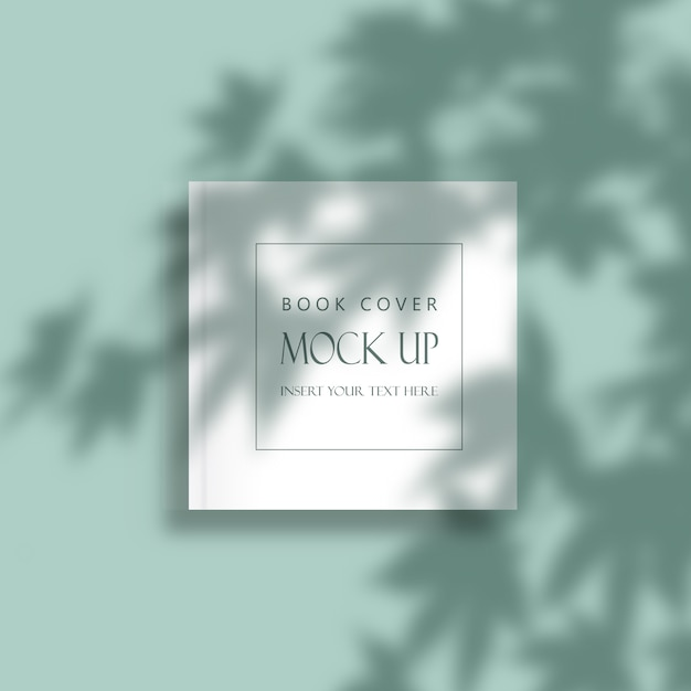Editable minimal book cover mock up with leaves shadow overlay Free Psd