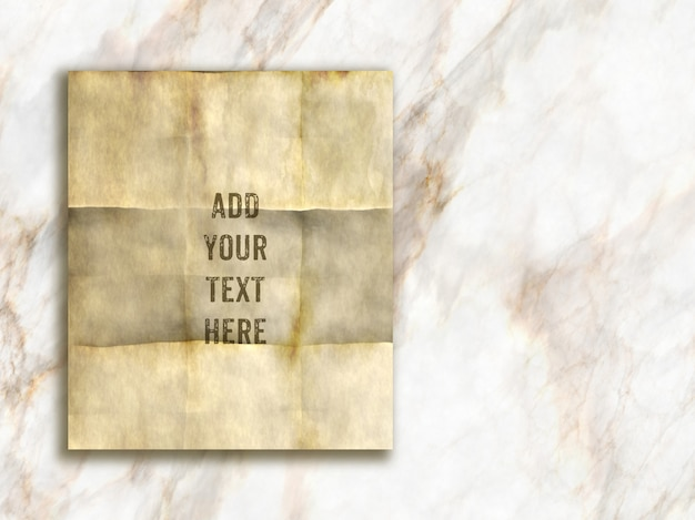 Editable mock up with grunge style paper on a marble texture Free Psd