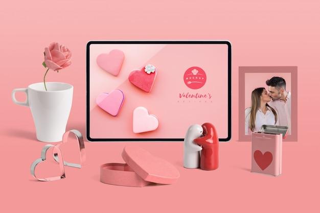 Editable mockup of valentine elements Free Psd