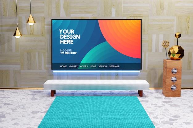 Editable modern television display mockup, tv screen mounted on the wood wall, luxury interior design Premium Psd