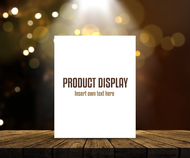 Editable product display background with blank picture on wooden table against bokeh lights Free Psd