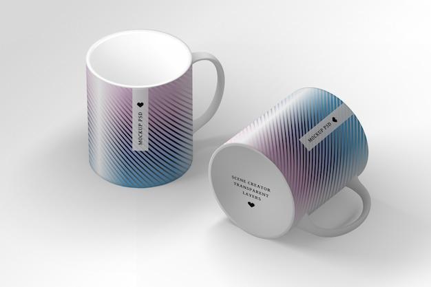 Editable psd scene creator with two mugs cups Premium Psd