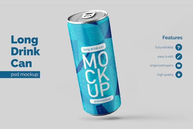 Editable realistic floating left long aluminium drink can mock up design templates Premium Psd