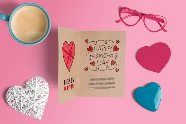 Editable scene creator mockup with valentines day concept Free Psd