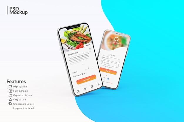 食品アプリのコンセプトテンプレートを表示する編集可能なスマートフォンのモックアップ Premium Psd