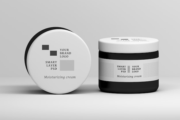 Editable stationery psd mockup with large cosmetic cream jar Premium Psd