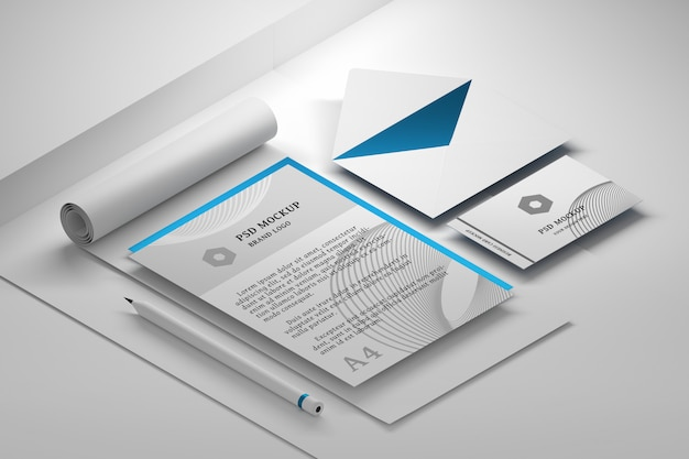 Editable stationery psd mockup with premium office paper documents collection Premium Psd