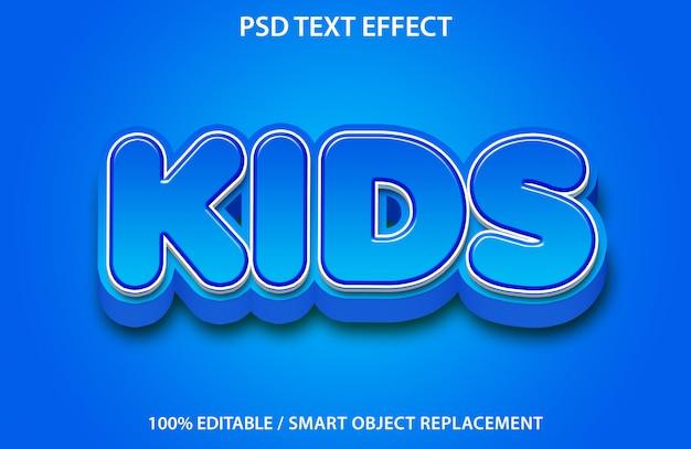 Редактируемый текстовый эффект blue kids Premium Psd