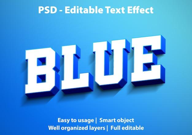 編集可能なテキスト効果ブルー Premium Psd