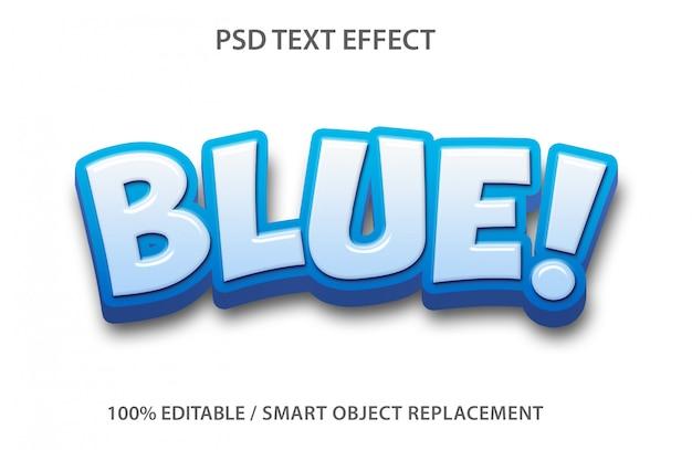 편집 가능한 텍스트 효과 블루 프리미엄 PSD 파일