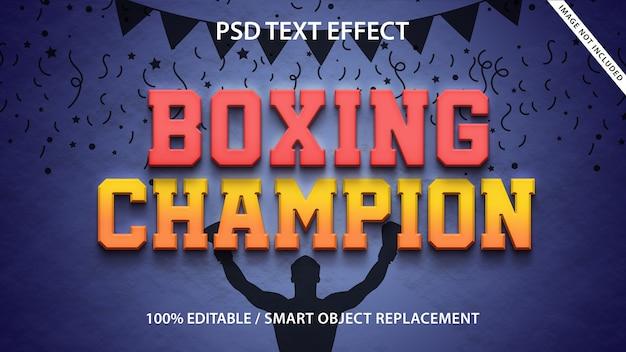 Editable text effect boxing champion Premium Psd