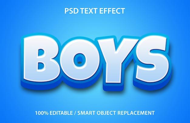 편집 가능한 텍스트 효과 소년 프리미엄 PSD 파일