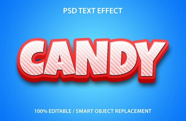 편집 가능한 텍스트 효과 캔디 프리미엄 PSD 파일