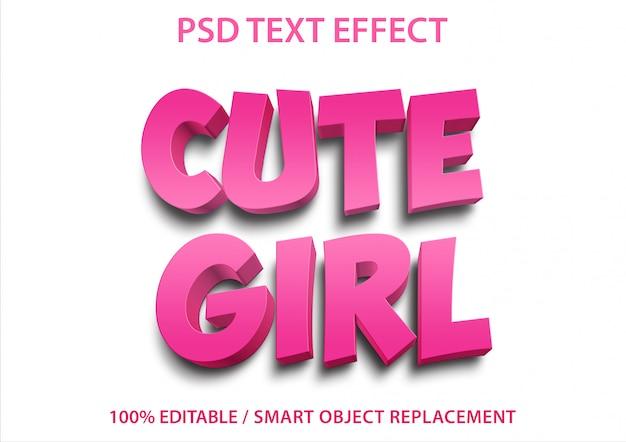 편집 가능한 텍스트 효과 귀여운 소녀 프리미엄 PSD 파일