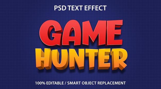 編集可能なテキストエフェクトゲームハンター Premium Psd