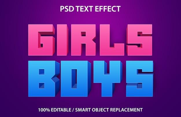 Editable text effect girls boys Premium Psd