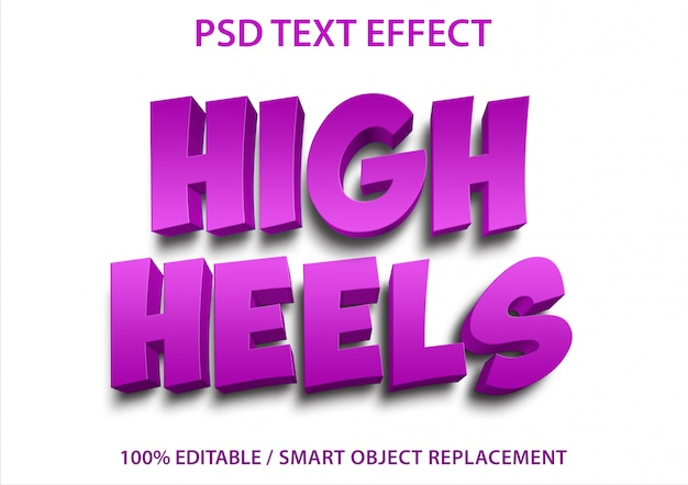 편집 가능한 텍스트 효과 하이힐 프리미엄 PSD 파일