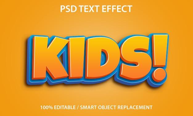 Редактируемый текстовый эффект дети Premium Psd