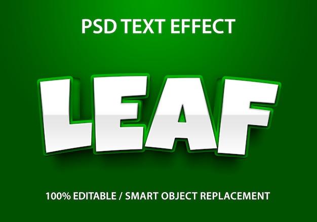 편집 가능한 텍스트 효과 리프 프리미엄 PSD 파일