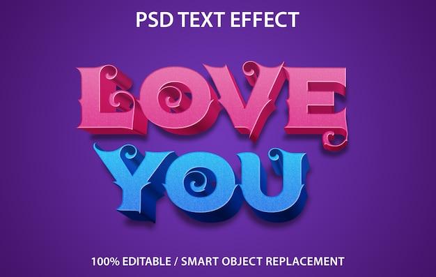 Editable text effect love you template Premium Psd