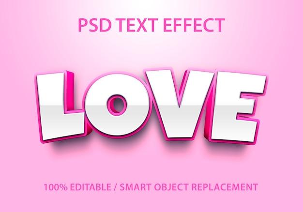 Редактируемый текстовый эффект love Premium Psd