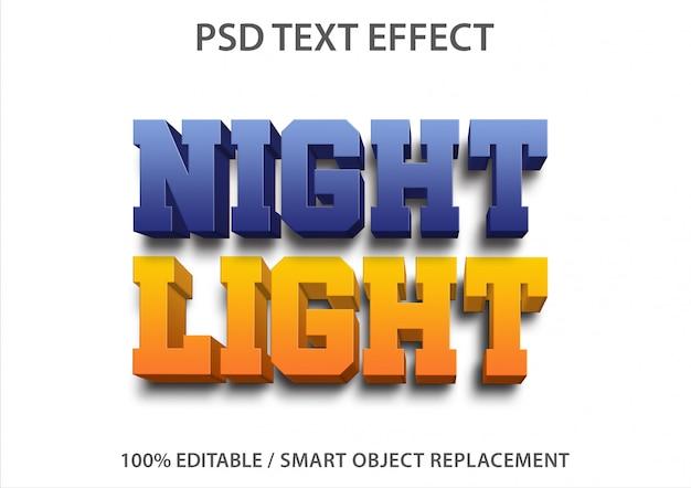編集可能なテキスト効果ナイトライト Premium Psd