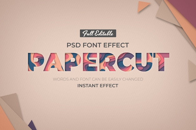 Editable text effect in paper style Free Psd