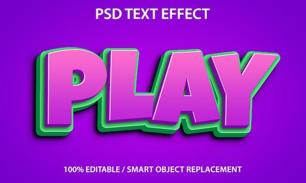 편집 가능한 텍스트 효과 재생 프리미엄 PSD 파일