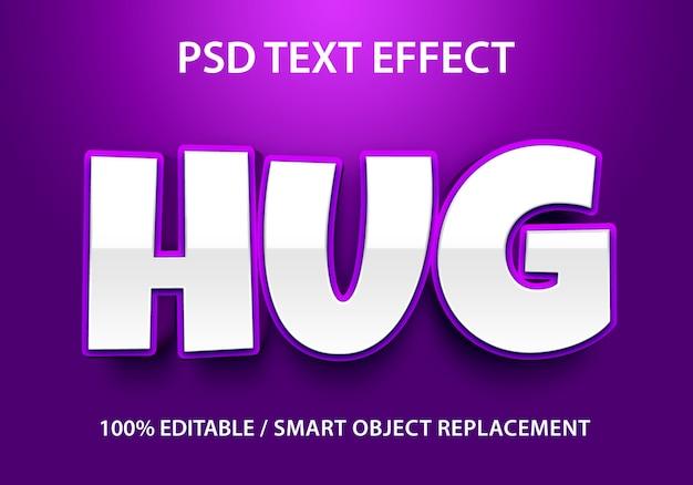 편집 가능한 텍스트 효과 보라색 포옹 프리미엄 PSD 파일