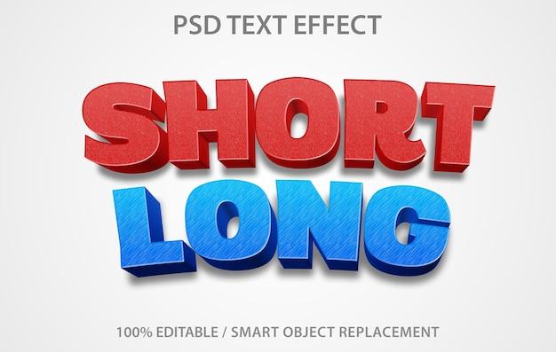 編集可能なテキスト効果ショートロング Premium Psd