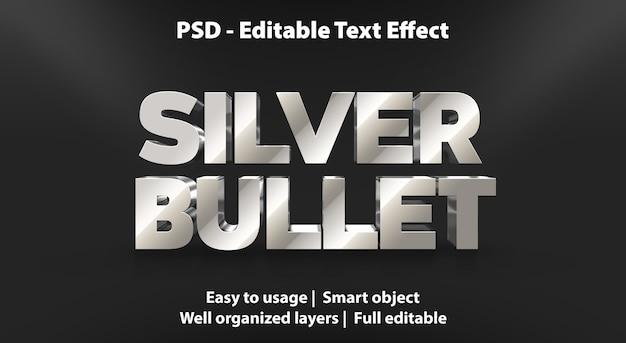 Editable text effect silver bullet Premium Psd