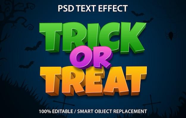 편집 가능한 텍스트 효과 속임수 또는 치료 프리미엄 PSD 파일