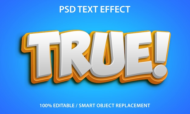 Editable text effect true premium Premium Psd