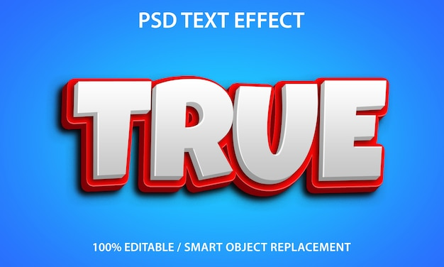 Editable text effect true Premium Psd