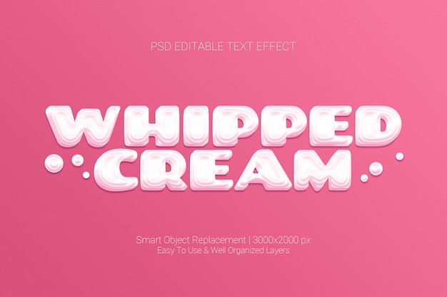 Editable text effect of whipped cream sweet pink concept Premium Psd