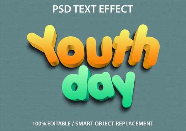 편집 가능한 텍스트 효과 청소년의 날 프리미엄 프리미엄 PSD 파일