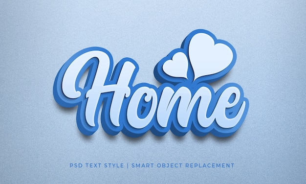 Editable text style psd effect with home blue color calligraphy mockup Premium Psd