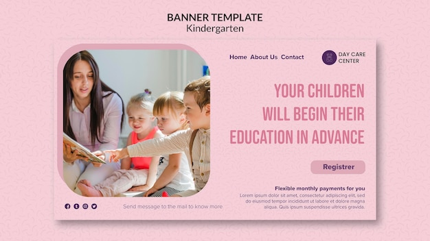 Education in advance kindergarten banner template Free Psd
