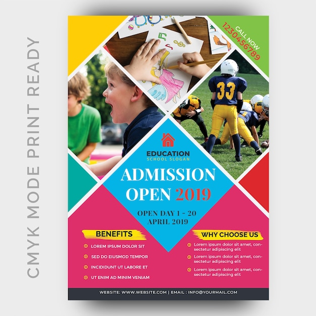 Education, back to shool flyer design template Premium Psd