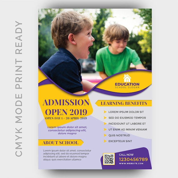 Education, back to shool flyer design template PSD file | Premium