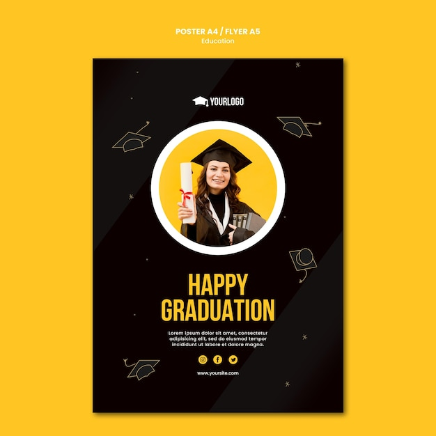 Шаблон плаката концепции образования Бесплатные Psd