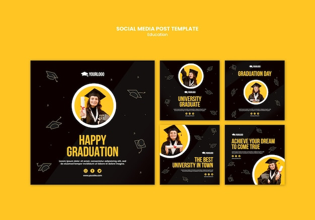 Education concept social media post template Free Psd