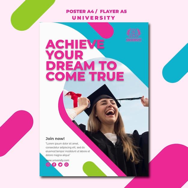 Education concept university poster design Free Psd